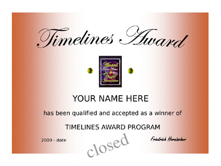 Timelines Awardprogrm is closed